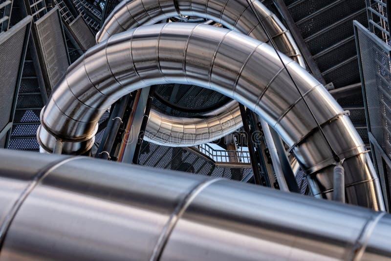 抽象背景三维金属管建筑 库存图片