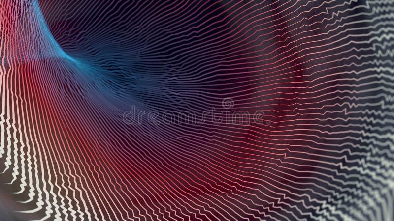 抽象背景上色了 与镶边混乱线的最小的盖子设计 3d翻译 库存例证