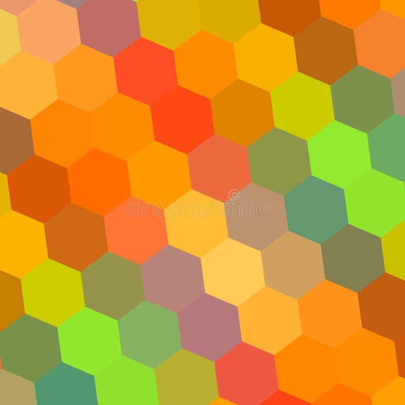 抽象背景上色彩虹 设计例证的样式元素 六角形马赛克 美好的颜色艺术 数字式 向量例证