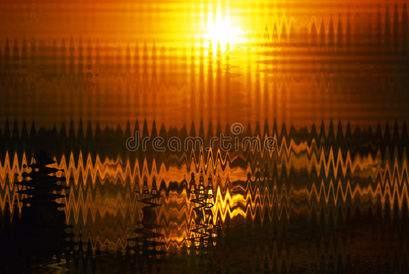 抽象背景之字形塑造幻觉日落海洋 库存图片