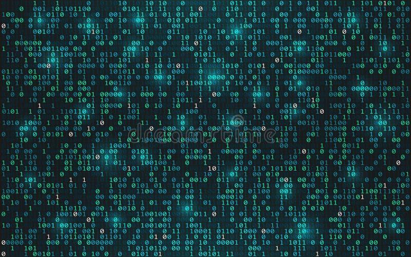 抽象背景二进制代码 数字资料概念 与光的明亮的放出的数字在黑暗的背景 未来派 库存例证