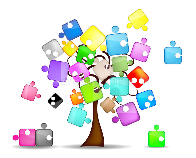 抽象背景五颜六色的难题结构树 向量例证