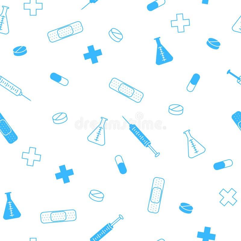 抽象背景健康医学片剂补丁注射器无缝的样式蓝色 向量例证