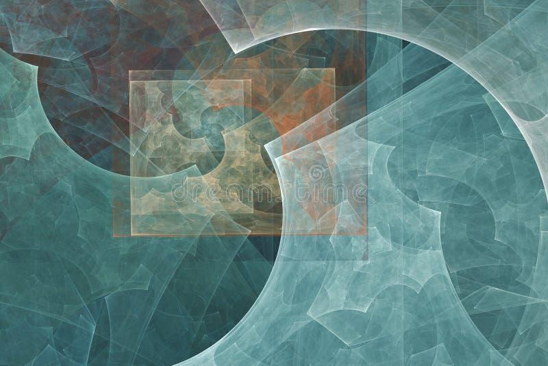 抽象背景分数维 在淡色的抽象绘画被观看象洞图象 织地不很细图象在上升了,蓝色,深蓝,红色 皇族释放例证