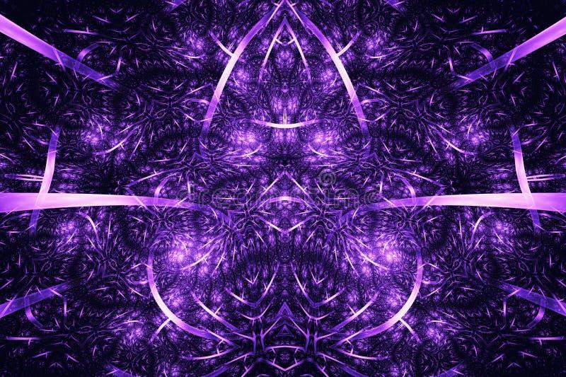 抽象背景分数维 高度与紫色和桃红色颜色的详细的背景与螺旋、线和样式的元素 库存例证