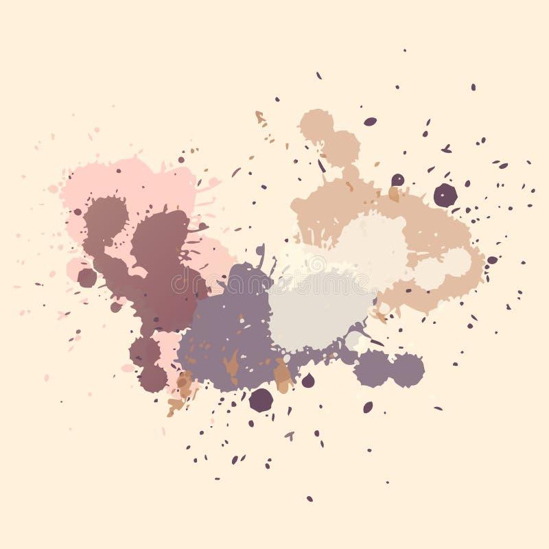 抽象背景向量 五颜六色的墨水斑点,丙烯酸漆泼溅物,难看的东西抽象绘画背景 皇族释放例证