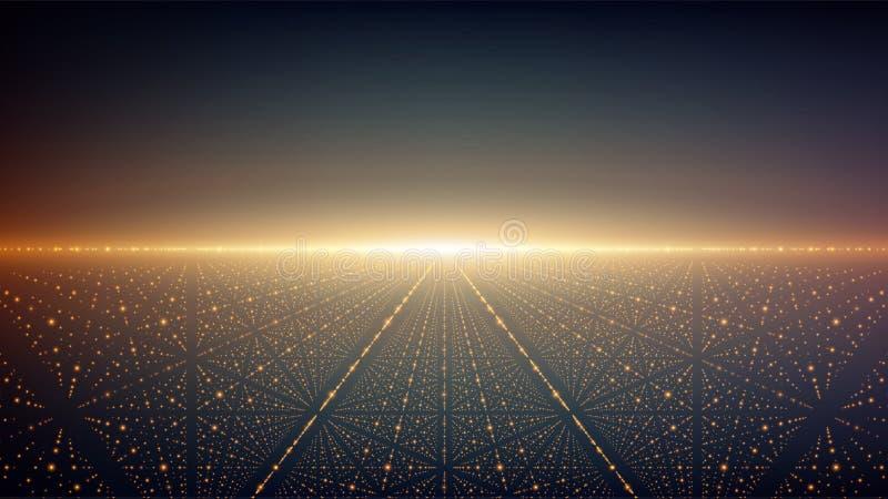 抽象背景向量 发光担任主角与深度和透视幻觉  库存例证