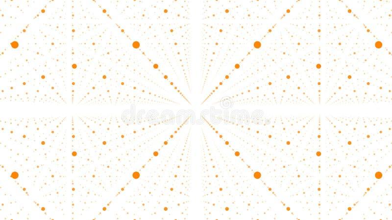 抽象背景向量 橙色小点矩阵与深度和透视幻觉的  向量例证