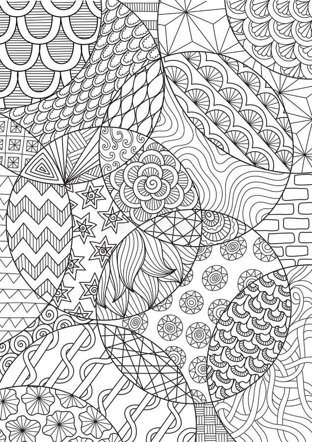 抽象背景和成人彩图或上色页的线艺术图画 r 免版税库存照片