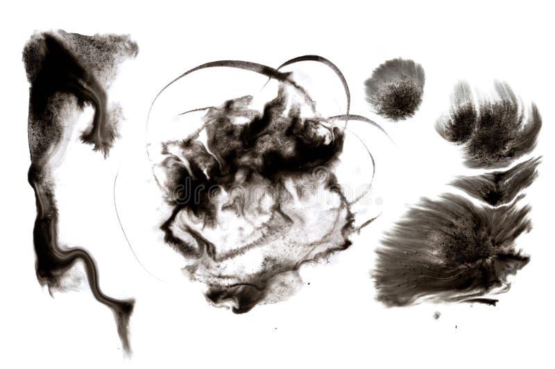 抽象背景墨水 移动的液体油漆在水中 白色吸收 向量例证