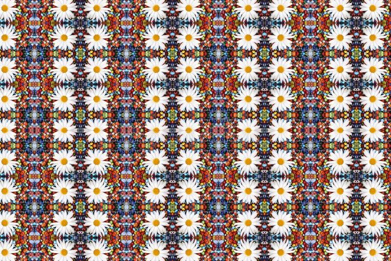 抽象背景成串珠状camomiles分数维 免版税库存照片