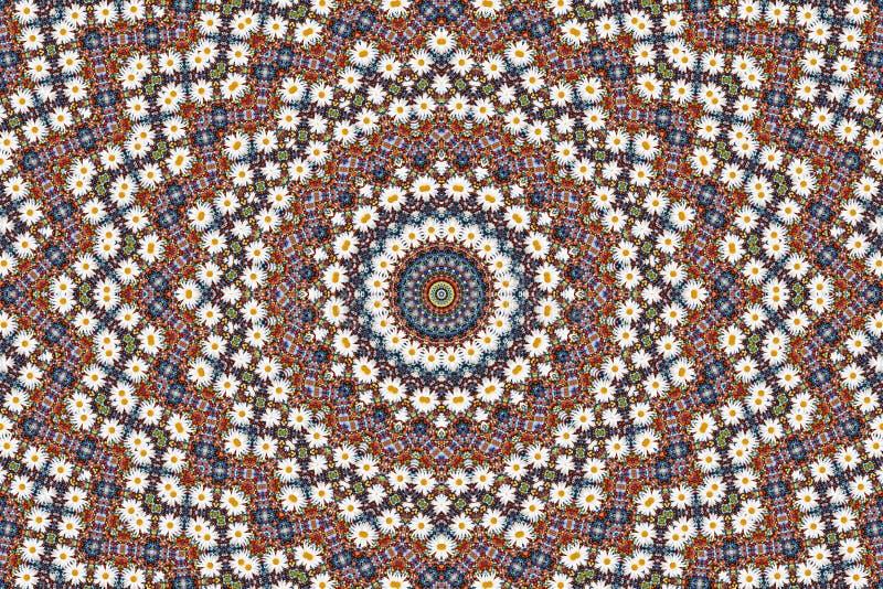 抽象背景成串珠状camomiles分数维 库存照片