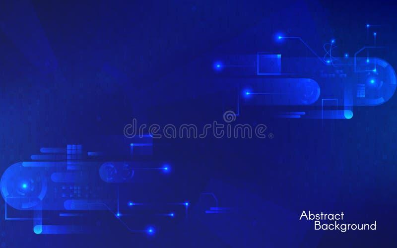 抽象背景技术 在蓝色背景的高科技概念 与几何元素的未来派构成 向量例证