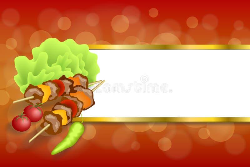 抽象背景格栅食物肉菜烤肉沙拉蕃茄胡椒绿色红色金银铜合金镶边框架例证 库存例证