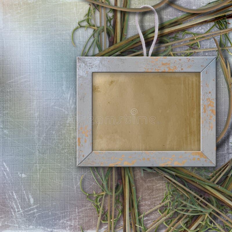 抽象背景框架照片木头 库存例证
