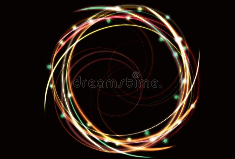 抽象背景模糊的霓虹空转的螺旋 向量例证