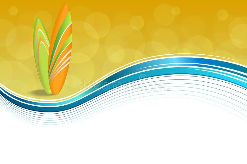 抽象背景沿海假日设计橙色绿色冲浪板海滩蓝色黄色 皇族释放例证
