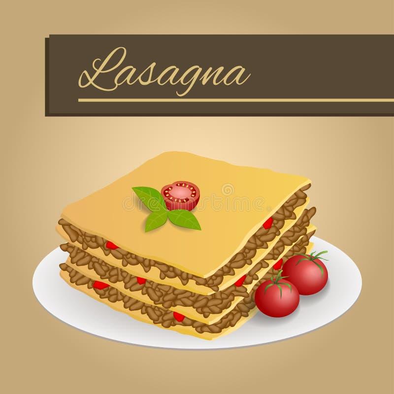 抽象背景烤宽面条食物肉蕃茄红色黄色米黄框架例证 皇族释放例证