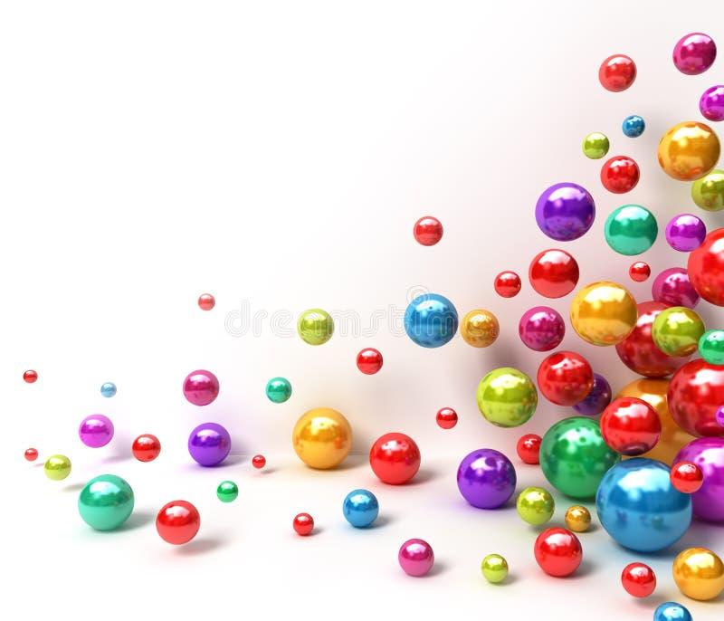 抽象背景球五颜六色发光 向量例证
