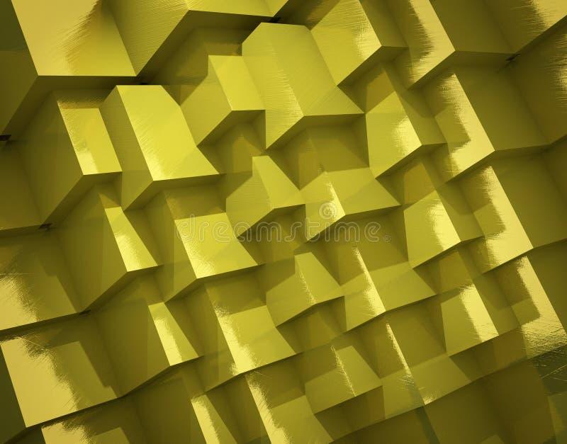 抽象背景由粗糙的金黄立方体制成 皇族释放例证