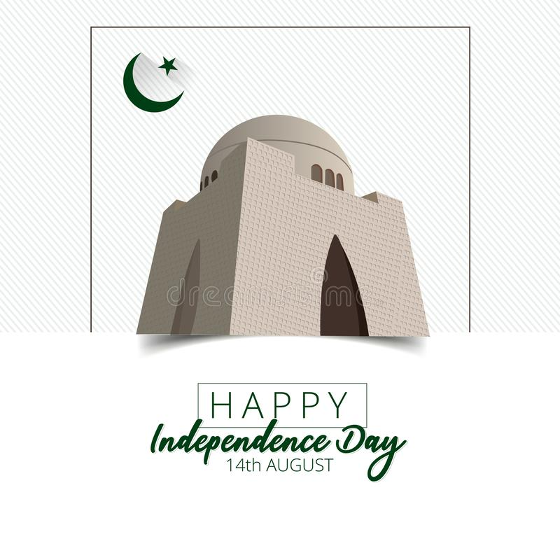 抽象背景的传染媒介例证巴基斯坦的美国独立日,第14 8月 库存例证