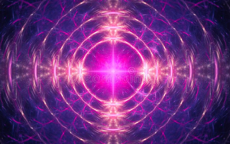 抽象背景的例证以发光的粉色同心环的形式一个意想不到的样式的与明亮的 向量例证