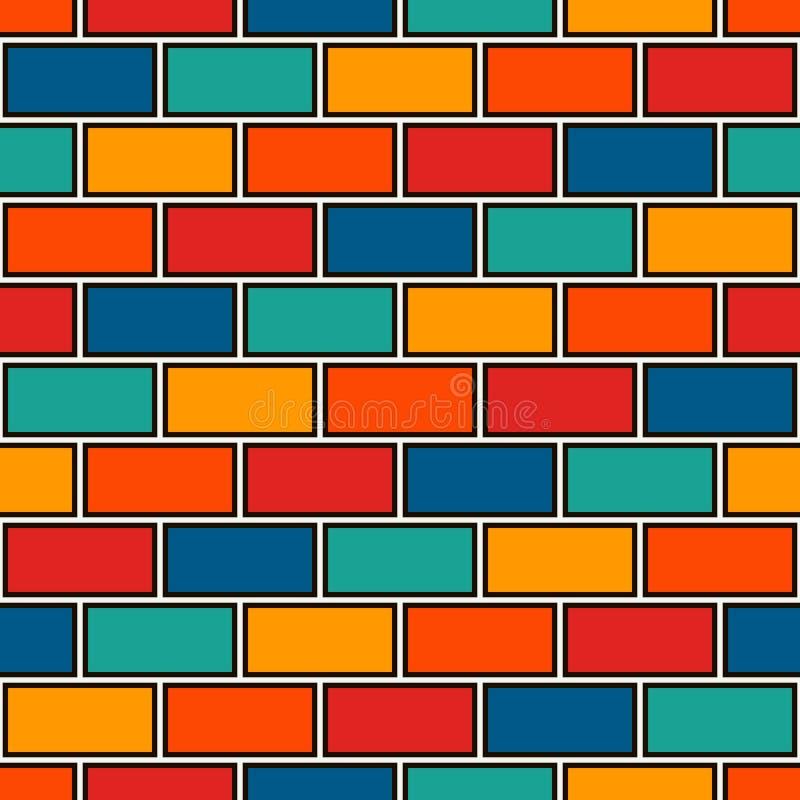 抽象背景砖墙 明亮的与经典几何装饰品的颜色无缝的样式 砖主题 库存例证