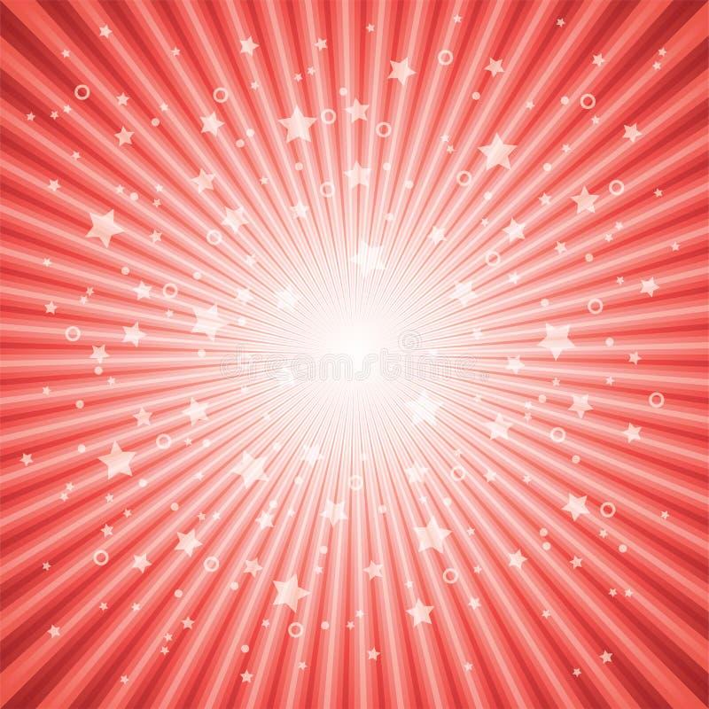 抽象背景破裂了红色星形向量 库存例证