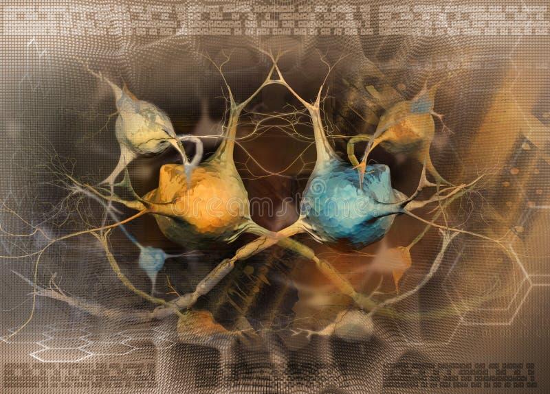 抽象背景紧张的神经元系统 皇族释放例证