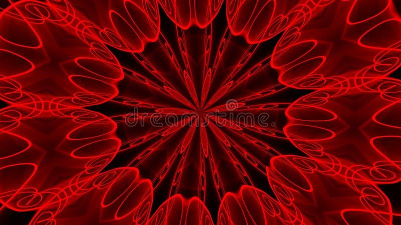 抽象背景红色 数字式万花筒 库存例证