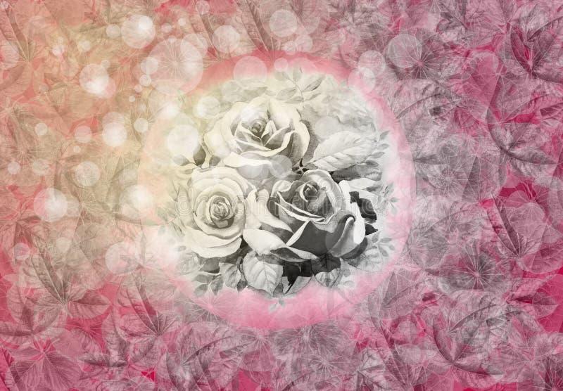 抽象背景绘画水彩玫瑰,叶子例证 库存例证