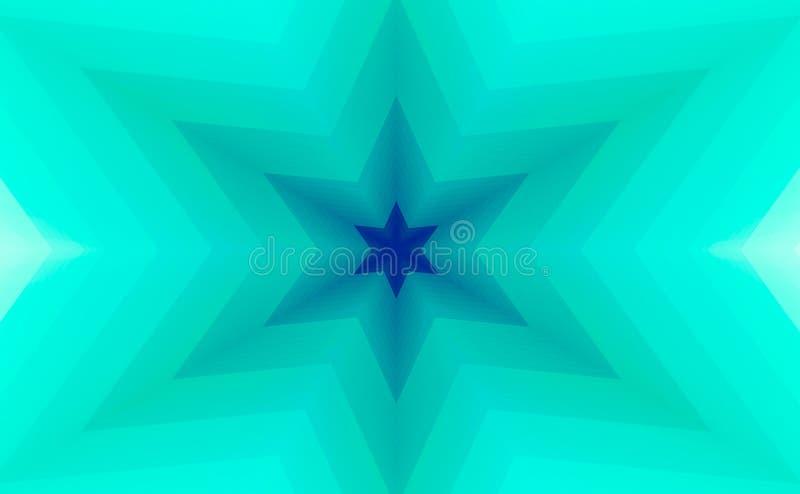 抽象背景绿松石六个针对性的星 向量例证
