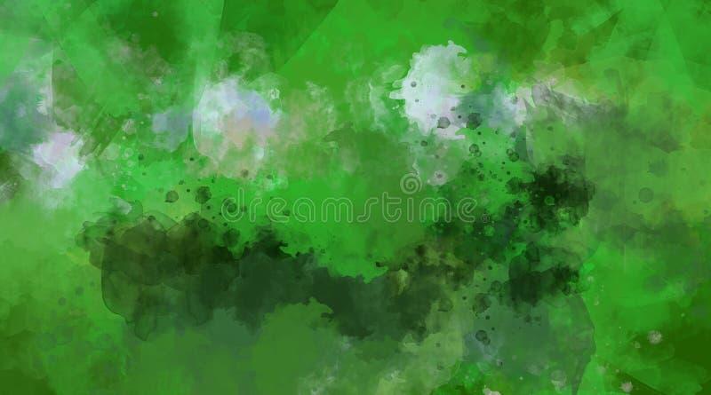 抽象背景绿色水彩 明亮的多色的斑点 库存图片