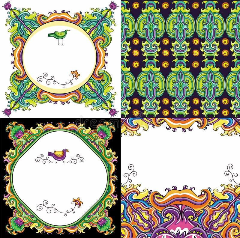 抽象背景花卉系列集 皇族释放例证