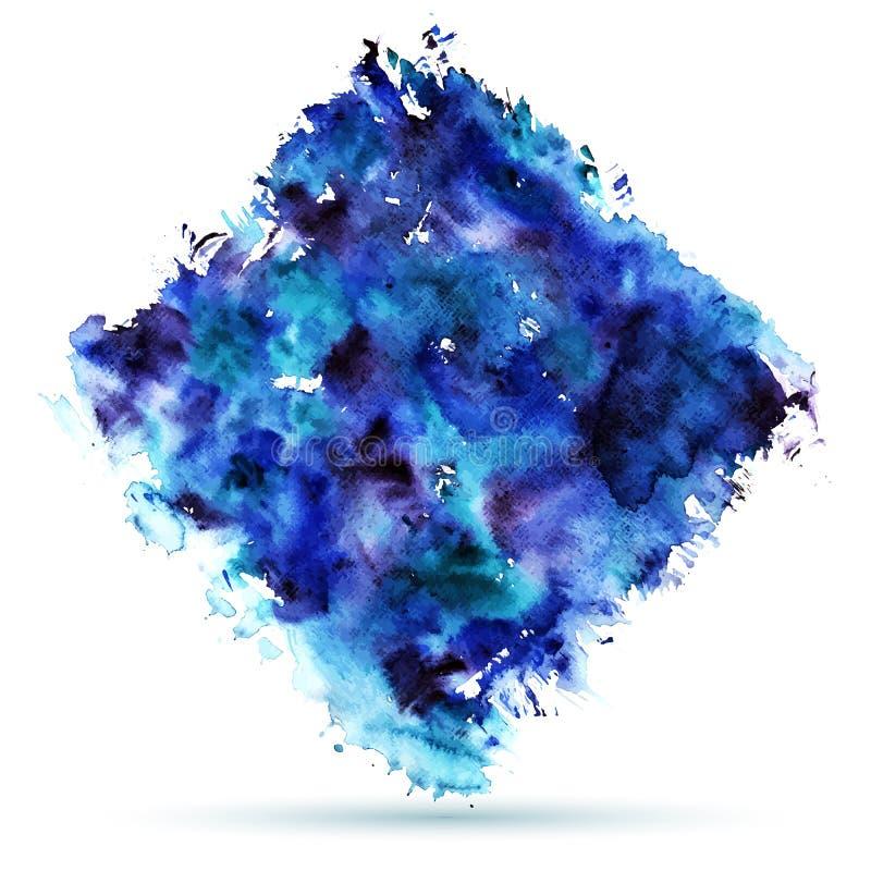 抽象背景蓝色做的自水彩 湿 皇族释放例证