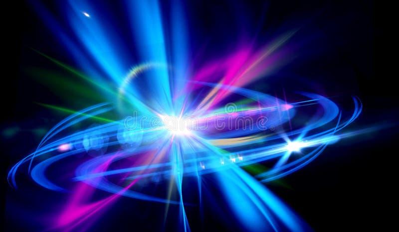 抽象背景蓝色光线影响,分数维,灯光管制线, gl 皇族释放例证