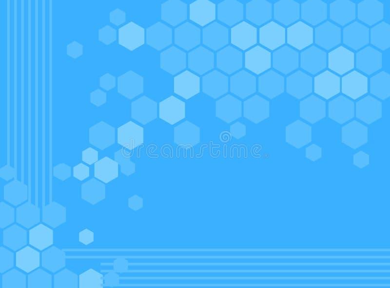 抽象背景蓝色六角形 皇族释放例证