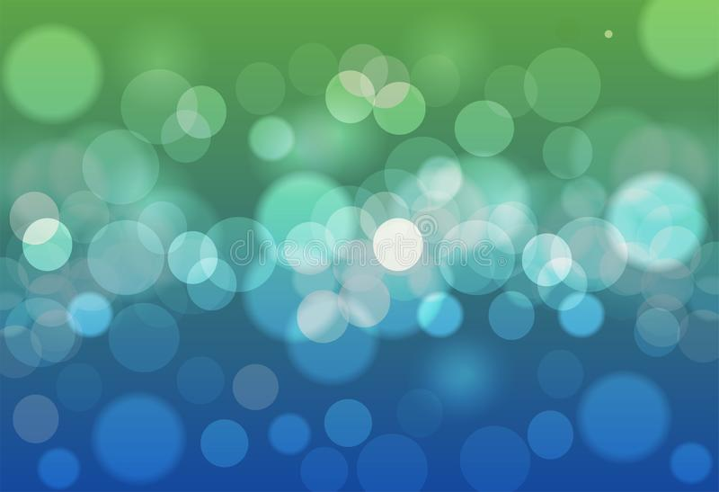抽象背景蓝色和绿色bokeh圈子 美好的返回 皇族释放例证