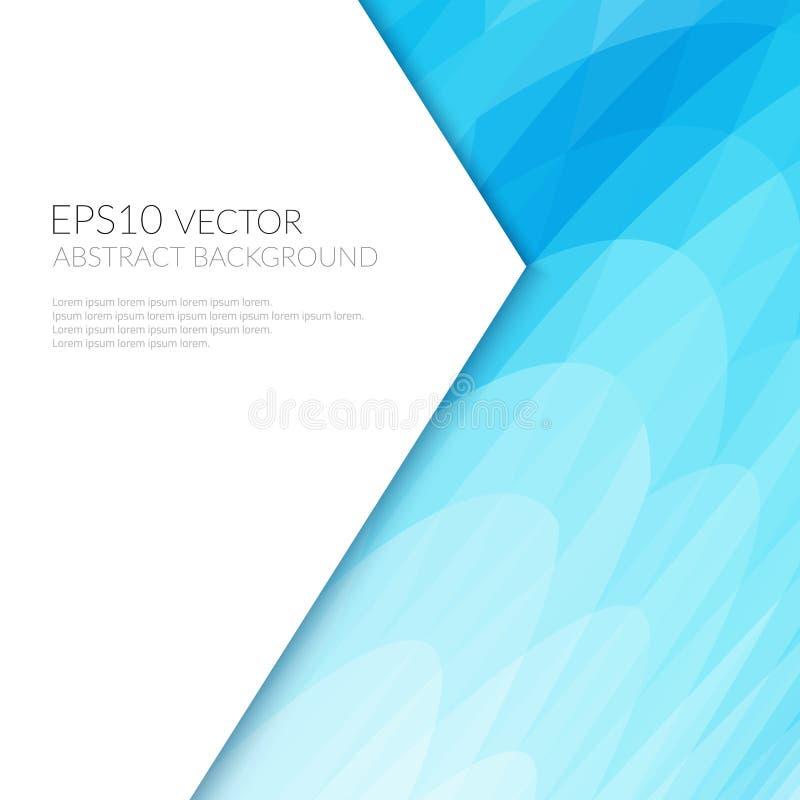 抽象背景蓝色波浪形状 白色纸片与文本的 库存例证