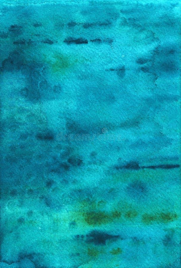 抽象背景蓝色色的纸纹理水彩 海洋纹理,绿松石 皇族释放例证