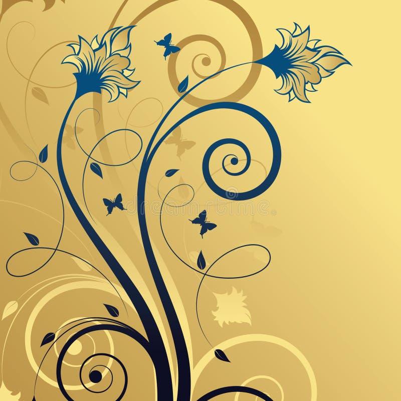 抽象背景蓝色花卉金子 皇族释放例证
