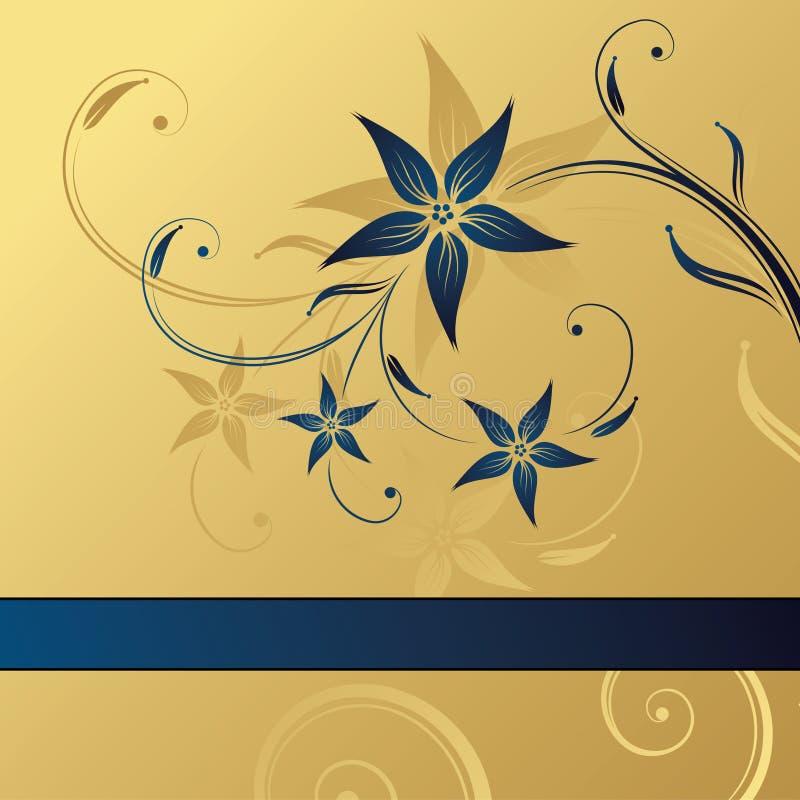 抽象背景蓝色花卉金子 库存例证