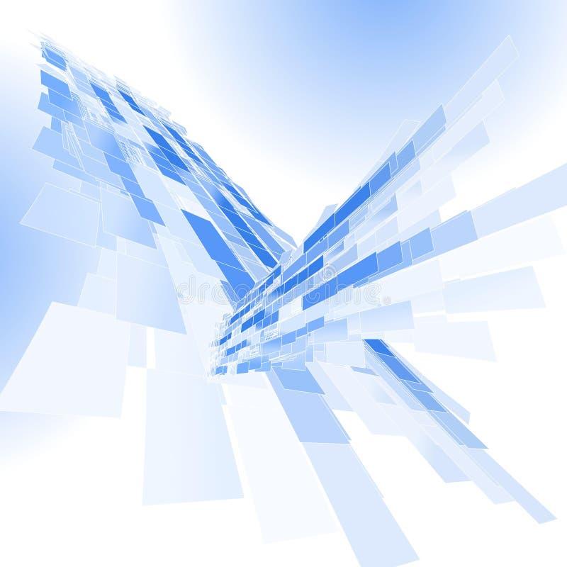 抽象背景蓝色透视图 向量例证