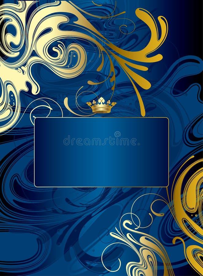 抽象背景蓝色金子 库存例证