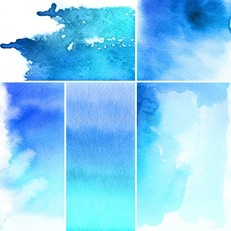 抽象背景设置了水彩 向量例证