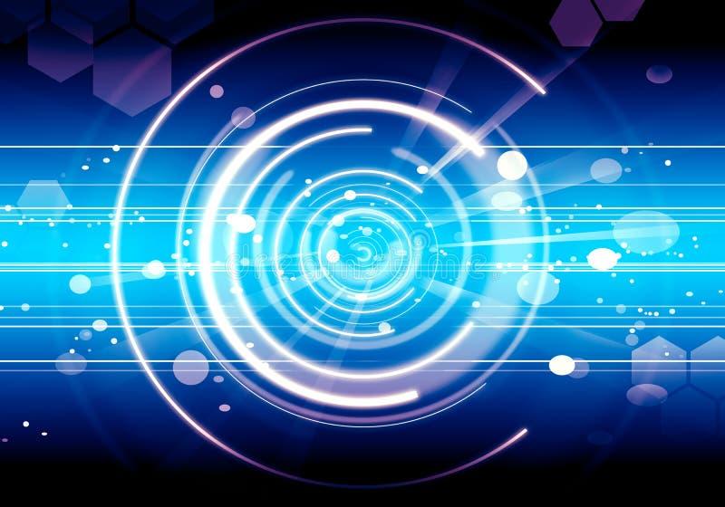 抽象背景透镜未来蓝色火光技术 向量例证