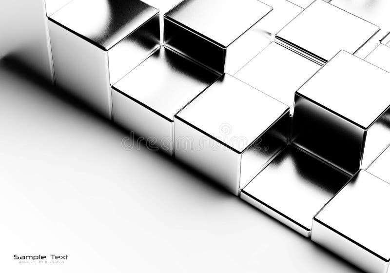 抽象背景镀铬物多维数据集 皇族释放例证