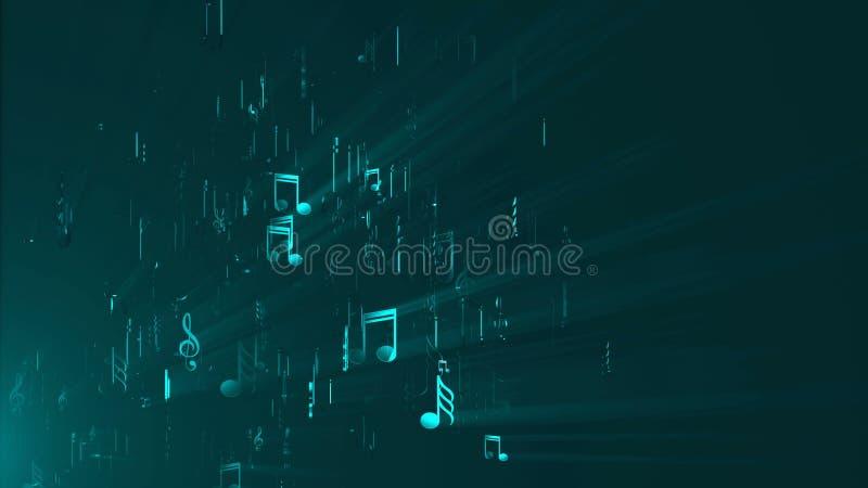 抽象背景音乐附注 3d回报数字式背景 皇族释放例证