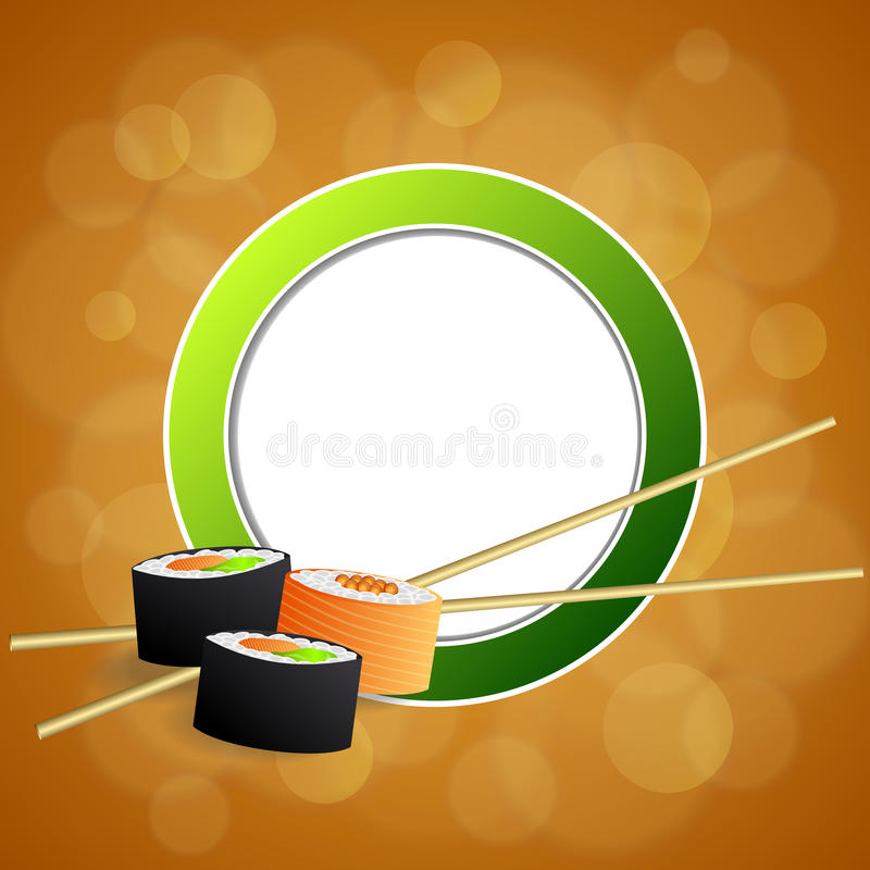 抽象背景食物寿司橙黄色绿色圈子框架例证 向量例证