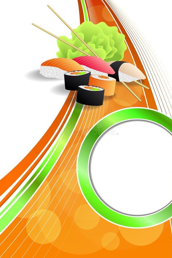 抽象背景食物寿司绿色橙黄丝带垂直的框架例证 皇族释放例证